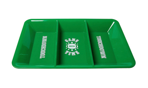 green plastic tray, divided serving tray