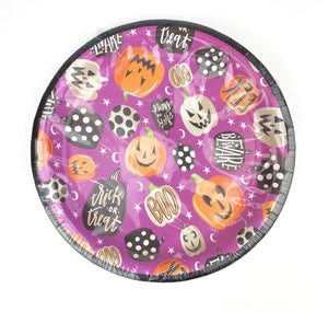 colorful Halloween party plates