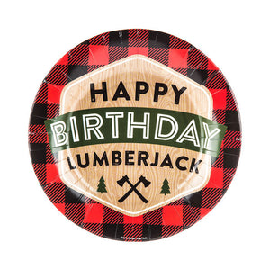 Black and red buffalo plain lumberjack birthday plates