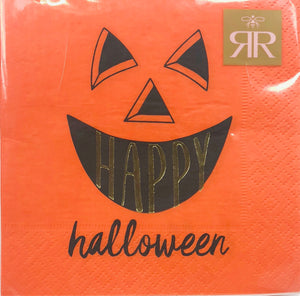 orange and black happy Halloween napkins