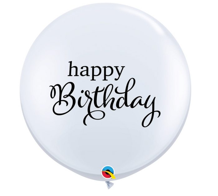 "36"" Happy Birthday White & Black Balloon"