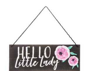 black and pink floral hello little lady girl baby shower sign & nursery decor