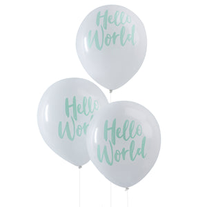 White background with blue words, HELLO WORLD BALLOONS