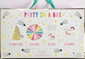 unicorn party in a box - girl birthday party - gold pink and rainbow