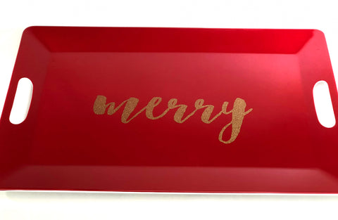Red plastic holiday serving tray with gold merry script