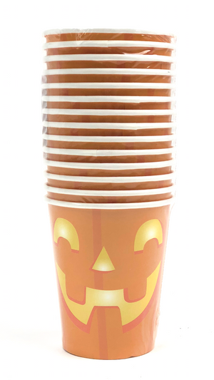 jack o'latern face on orange pumpkin halloween cups
