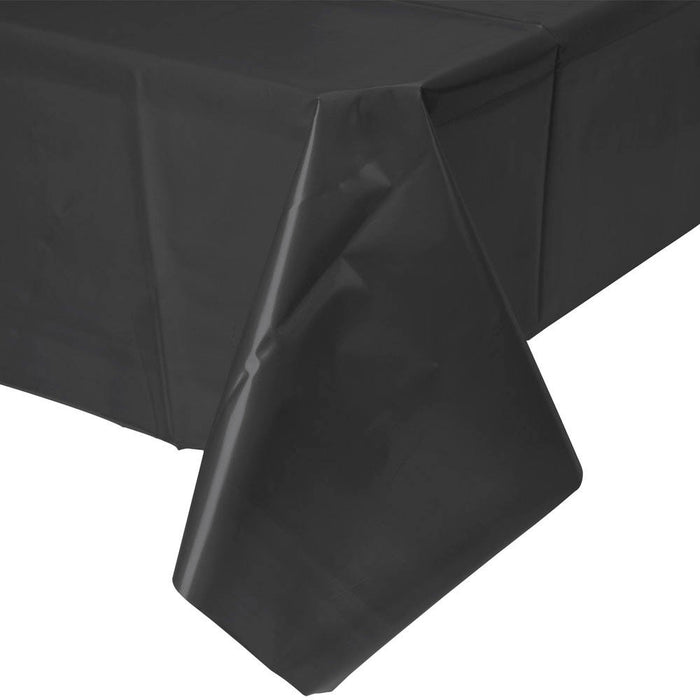 Solid Black Plastic Tablecloth