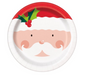 jolly Santa face round Christmas party plate