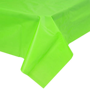 Bright green plastic disposable party tablecloth