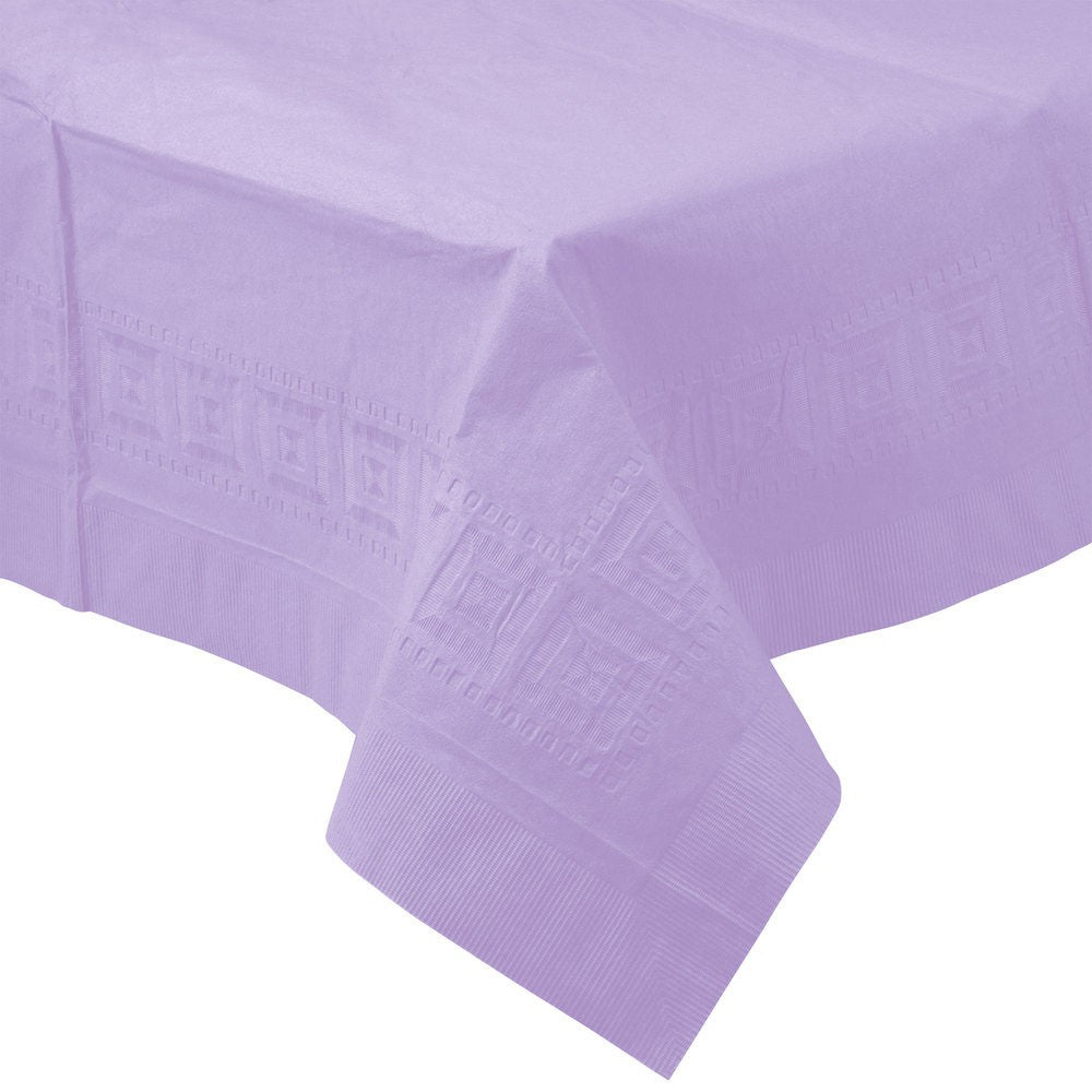 Lavendar PAPER PLASTIC LINED TABLECLOTH great for birthdays, baby showers, graduations, and parties with easy cleanup