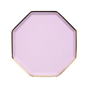 purple and gold dessert plate, hexagon