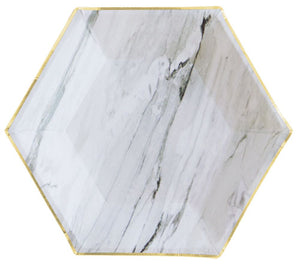 white marble hexagon shaped dessert plate with gold metallic foil edges _harlow & grey party supplies