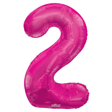 large pink mylar #2 balloon