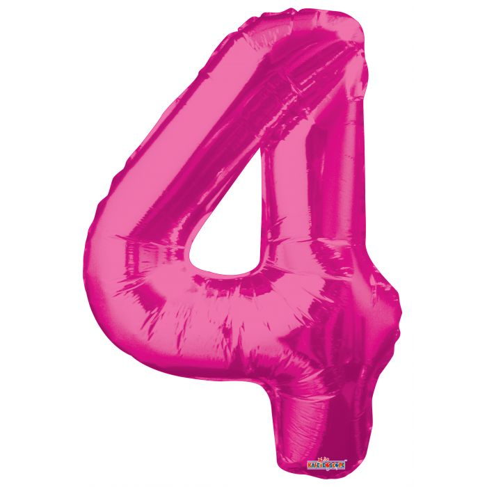 "34"" #4 Pink Foil Number Balloon"