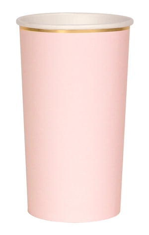 pale pink and gold paper highball cup