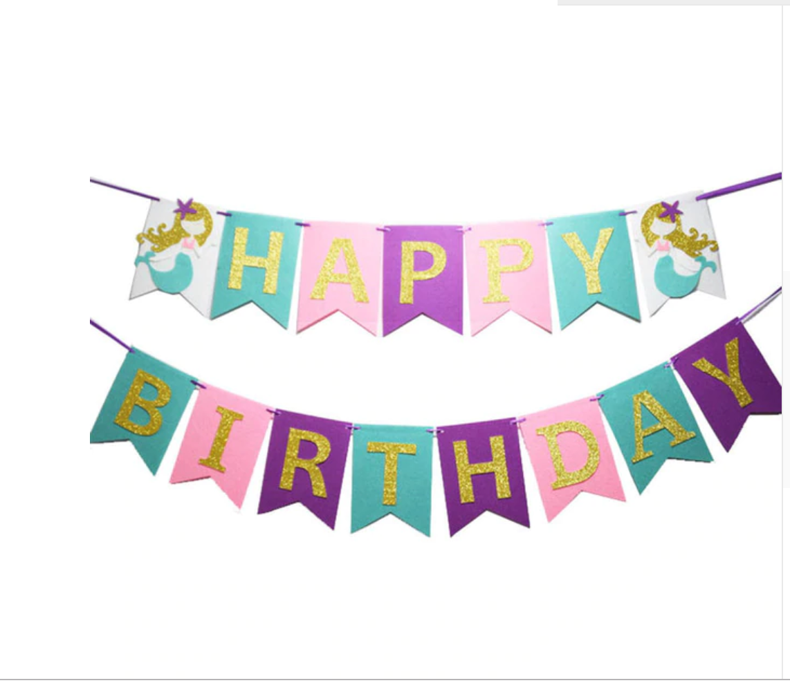 Shimmering Mermaid Happy Birthday Banner Garland For Your