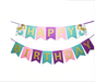 turquoise, pink, and purple mermaid happy birthday banner with gold shimmering letters