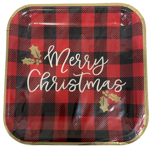 buffalo plaid plate trimmed in metallic gold with merry Christmas font