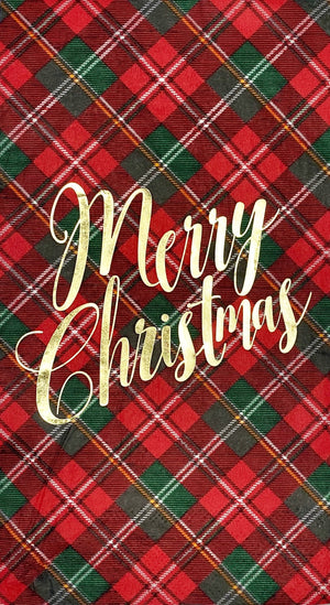 Red and Green TARTAN PLAID MERRY CHRISTMAS NAPKIN WITH METALLIC GOLD