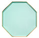 mint green and gold dinner plate, hexagon