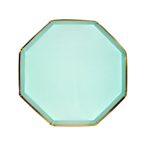 mint green and gold dessert plate, hexagon