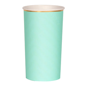 mint green and gold paper highball cups