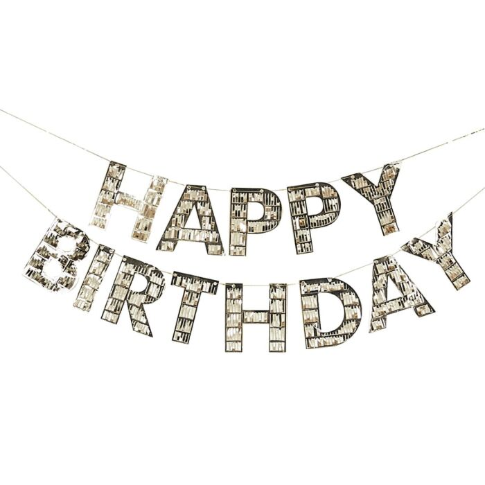Gold Block letters in metallic gold fringe spell Happy Birthday and add great decor to your Birthday celebrations