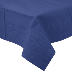 Navy Blue PAPER PLASTIC LINED TABLECLOTH great for birthdays, graduations, and events with easy cleanup