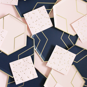 navy & gold party supplies pair nicely with our blush & gold party collection