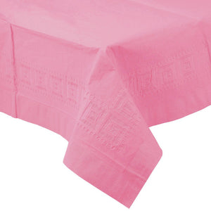 PINK PAPER PLASTIC LINED TABLECLOTH great for birthdays, bridal showers, baby showers, and events with easy cleanup