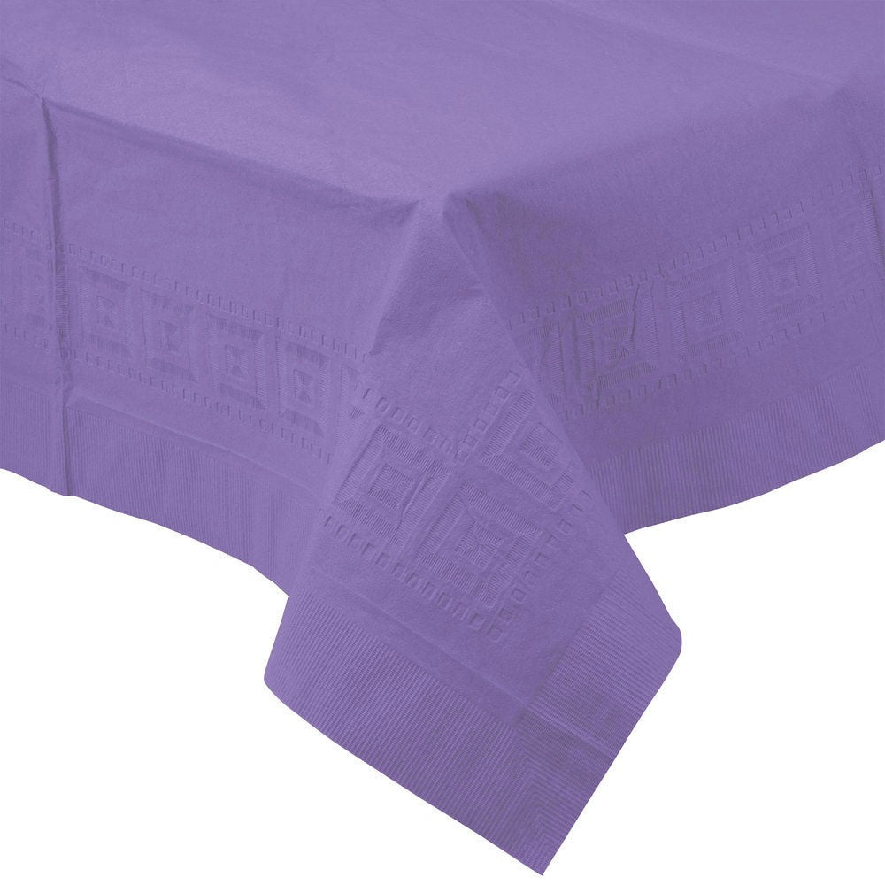 Purple PAPER PLASTIC LINED TABLECLOTH great for birthday, graduations, and other events with easy cleanup