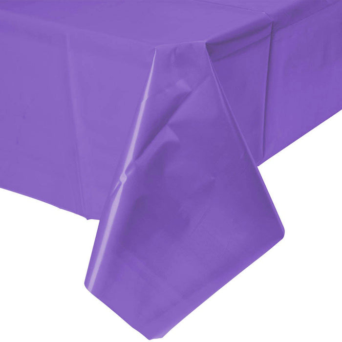 Solid Purple Plastic Tablecloth