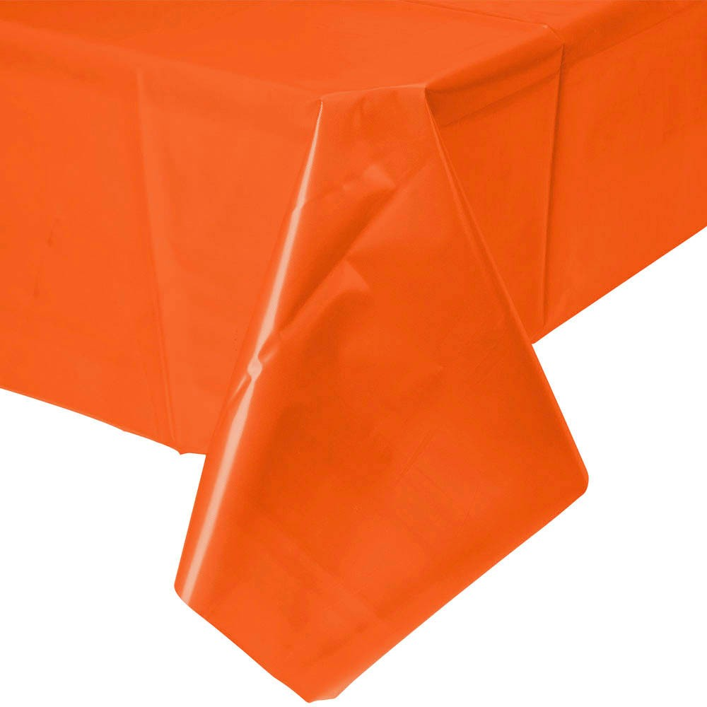 Solid orange plastic tablecloth | party supplies