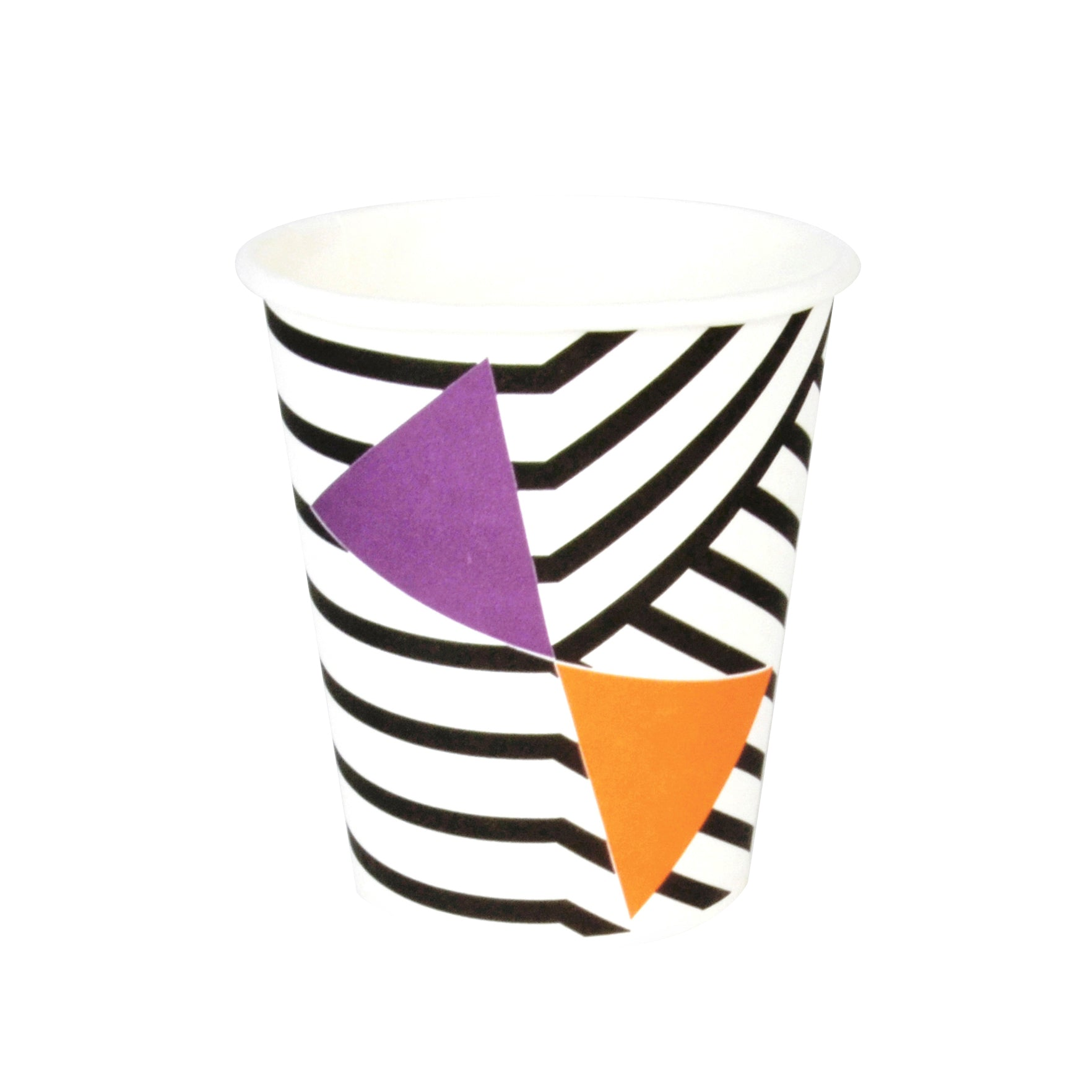 geometric black stripe cup with orange and purple triangle