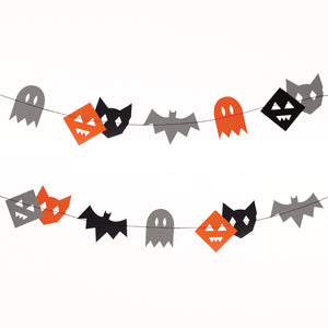Black and Orange Bat and ghost Halloween banner