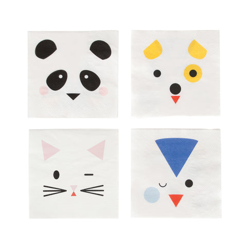 party napkin white background with multi color cat, dog, penquin and panda