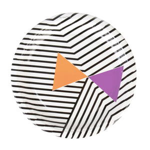 geometric black stripe plate with orange and purple triangle