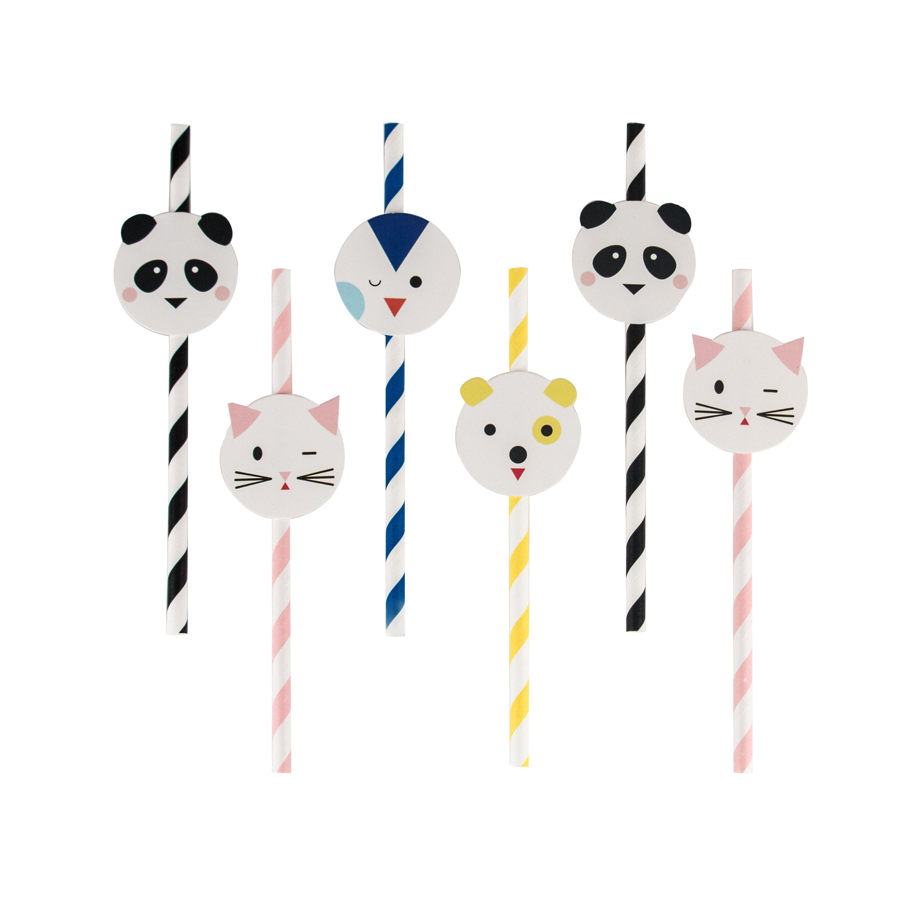 party animal straws in colorful stripes - panda, penguin, cat and dog variety pack