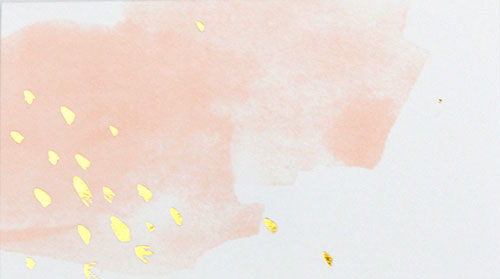 peach blush watercolor placecards with a few shimmering gold splatter designs