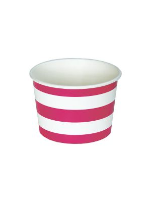 magenta pink and white stripe paper treat cup