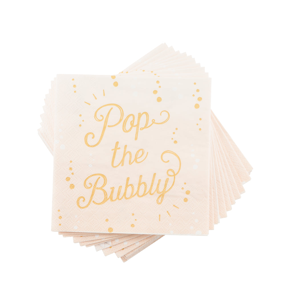 blush and gold bubbly beverage napkin