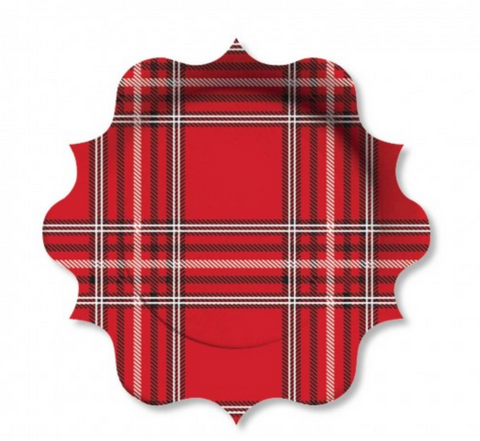 red plate with black and white plaid pattern and scalloped edge - christmas party - holiday party