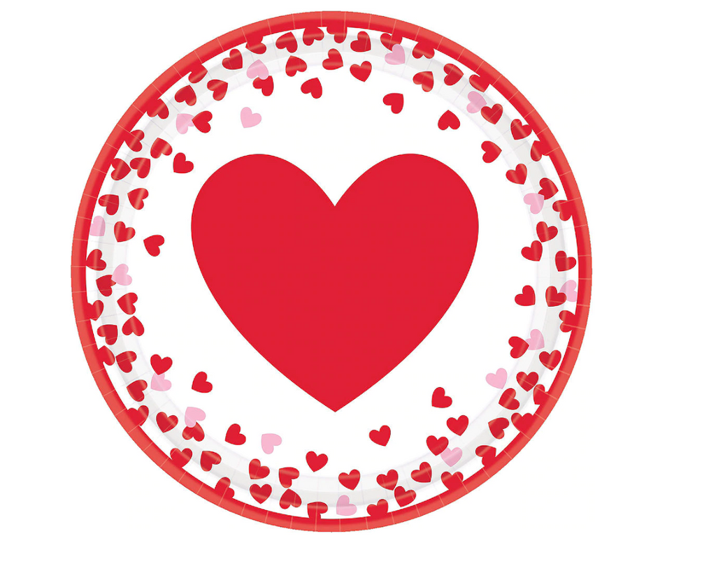 red heart with small confetti valentine's day party plate