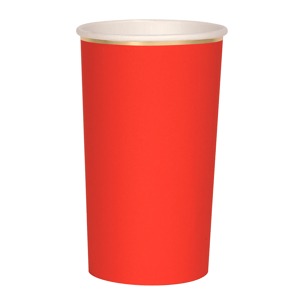 poppy red and gold paper highball cup