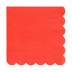 red scalloped edge party napkins