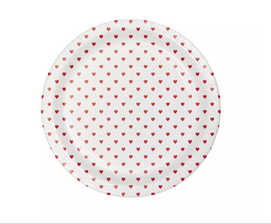 mini red heart valentine's day plate