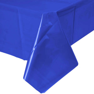 Solid Royal Blue Plastic Tablecloth