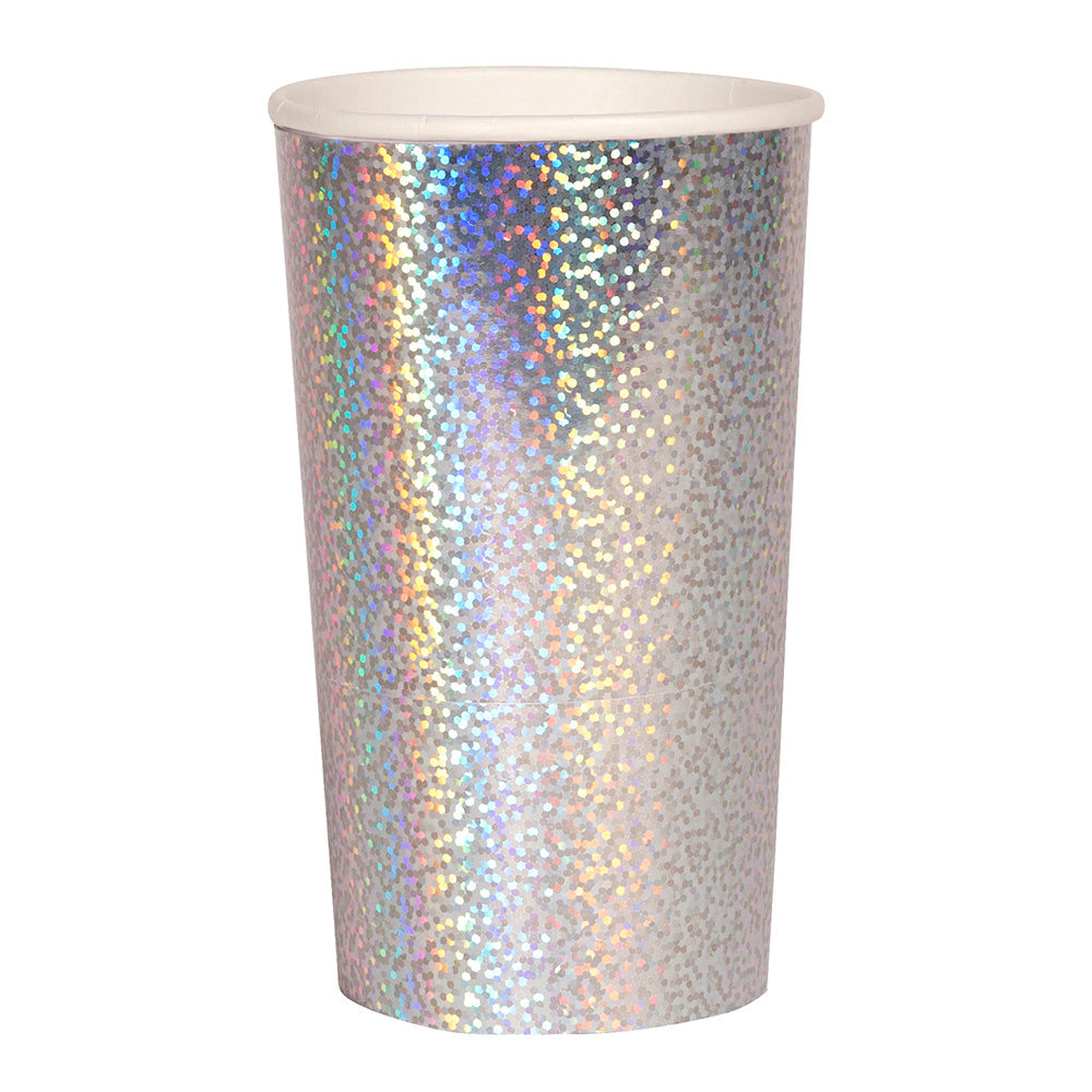 sliver holographic paper highball cup
