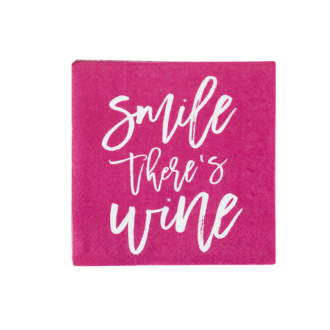 pink beverage napkin with smile there's wine phrase in white script - great for bachelorette party supplies