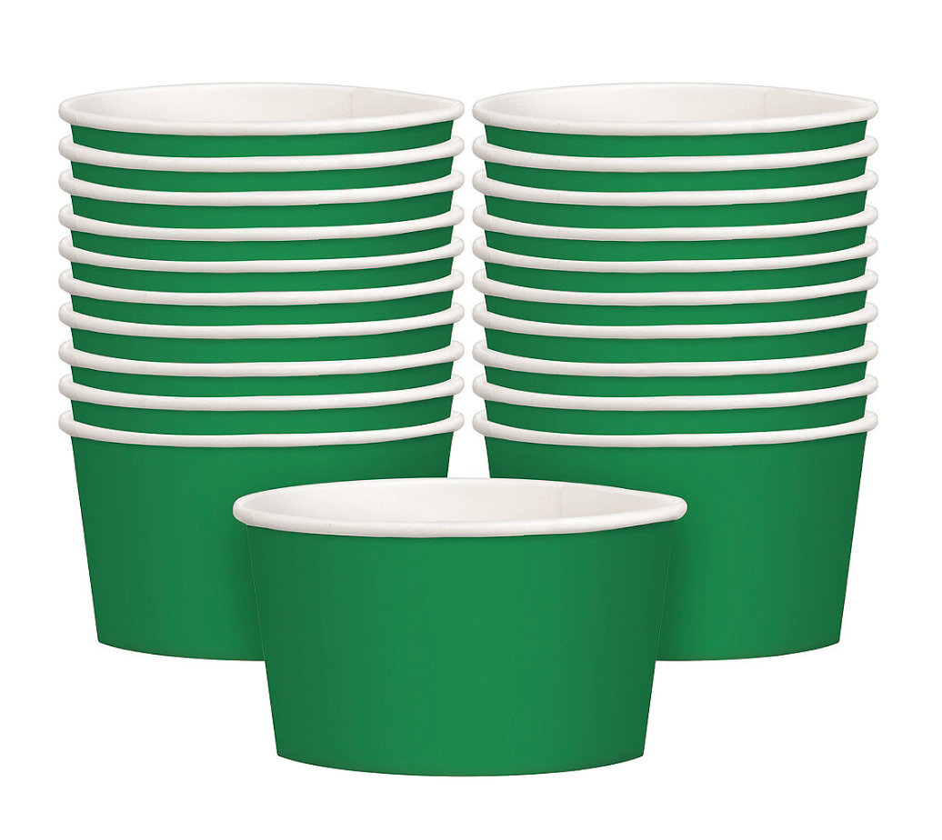 GREEN SNACK CUP.  PERFECT SIZE FOR PARTY TREATS.